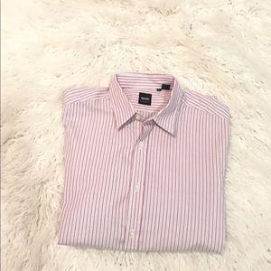 Hugo Boss striped regular fit button down shirt L